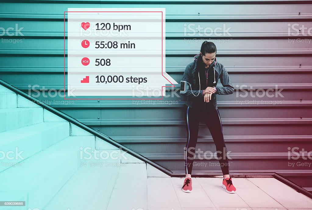 Sportswoman infographic stock photo