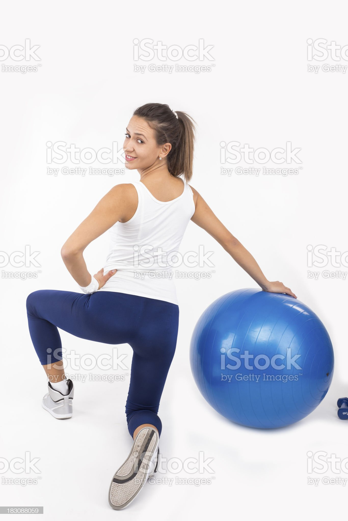 Sportswoman lunging royalty-free stock photo