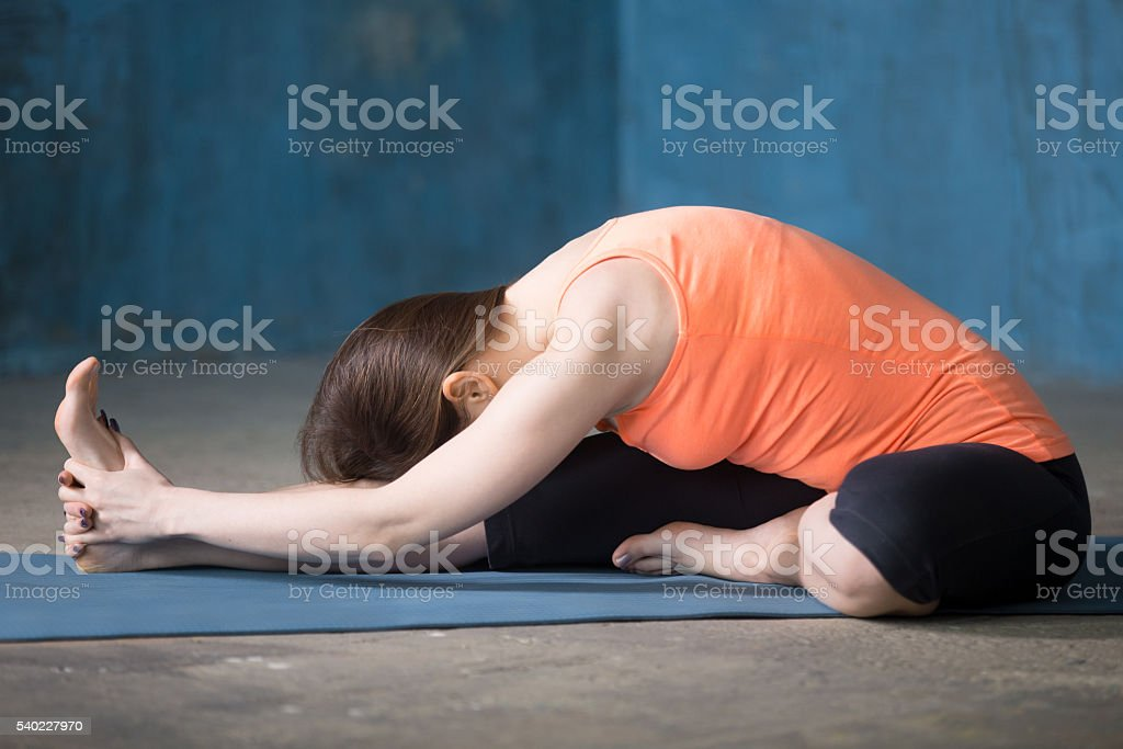 Sporty beautiful young woman doing Hamstring Stretch exercise stock photo