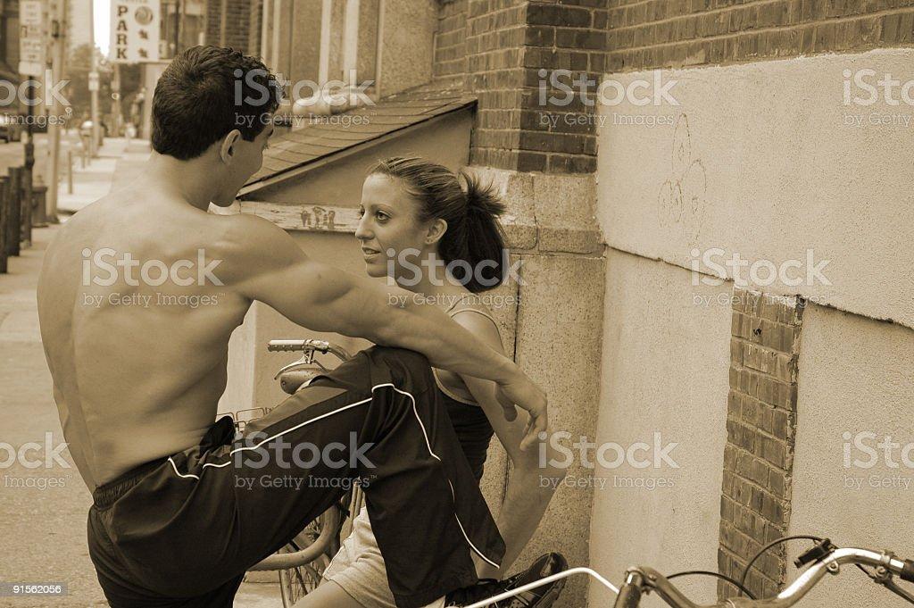 sporty conversation royalty-free stock photo