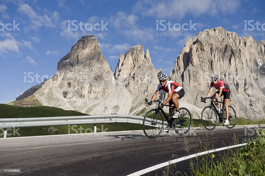 Sporty cyclists have fun on the bike royalty-free stock photo