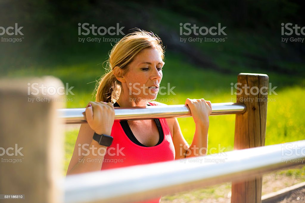 Sporty day in nature stock photo