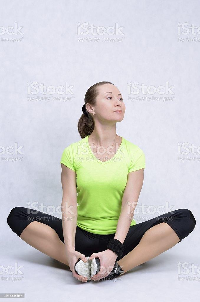 Sporty girl resting stock photo