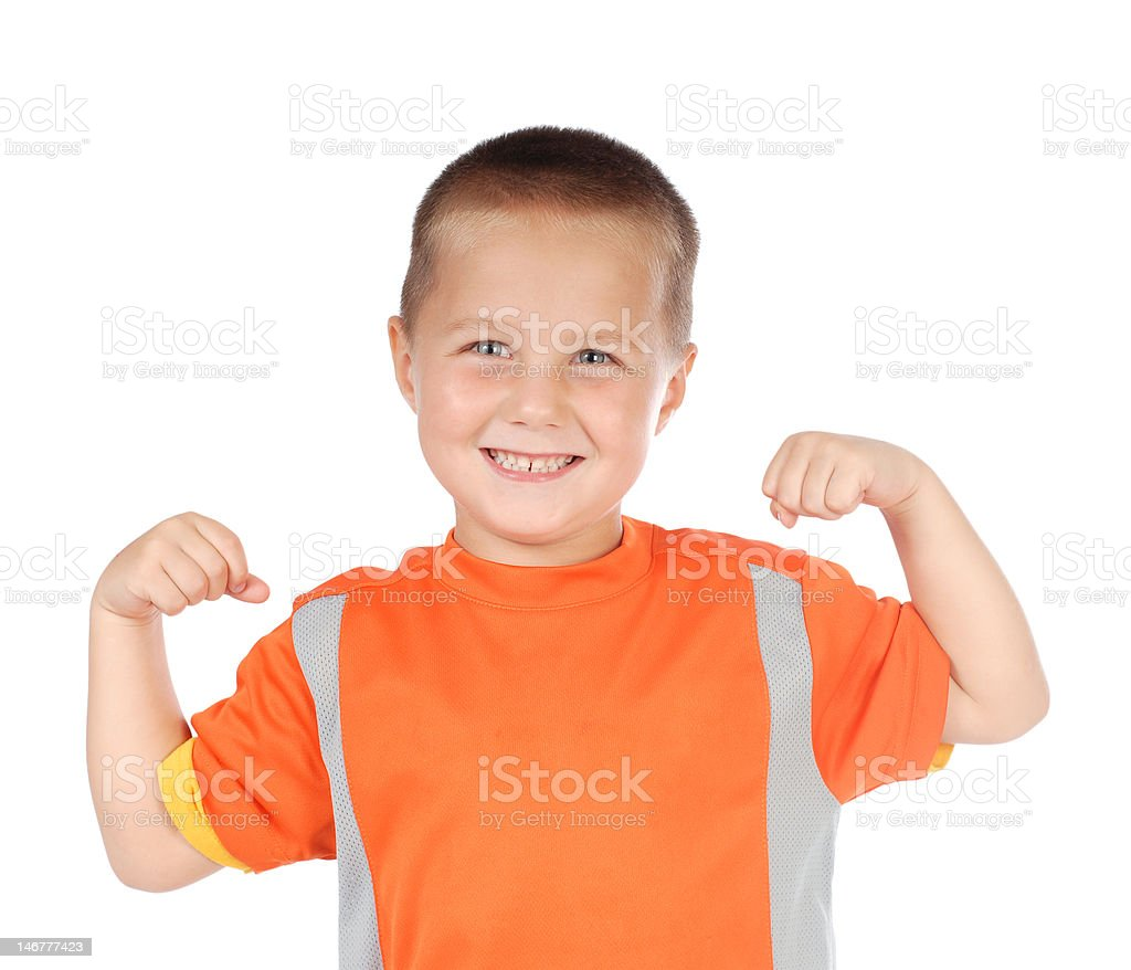 Sporty kid flexing royalty-free stock photo