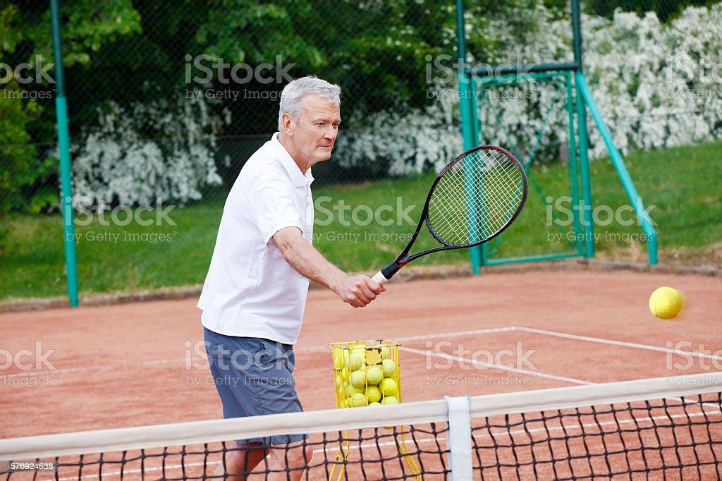 Sporty senior man stock photo