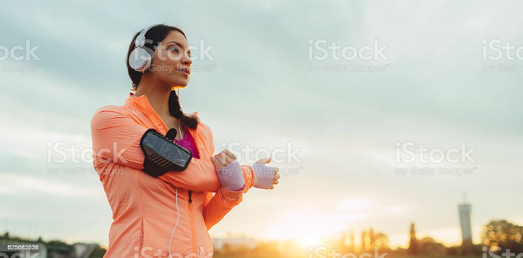 Sporty Woman Working Stretching Exercise. stock photo