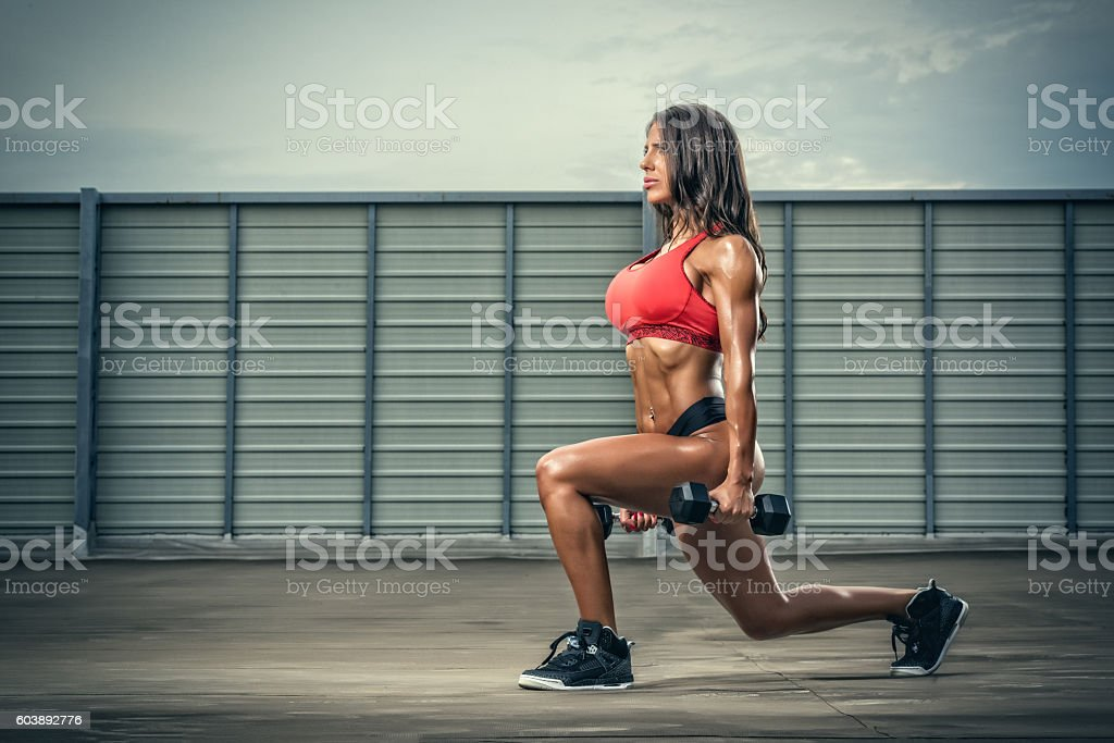 Sporty Women Exercise with Weights stock photo