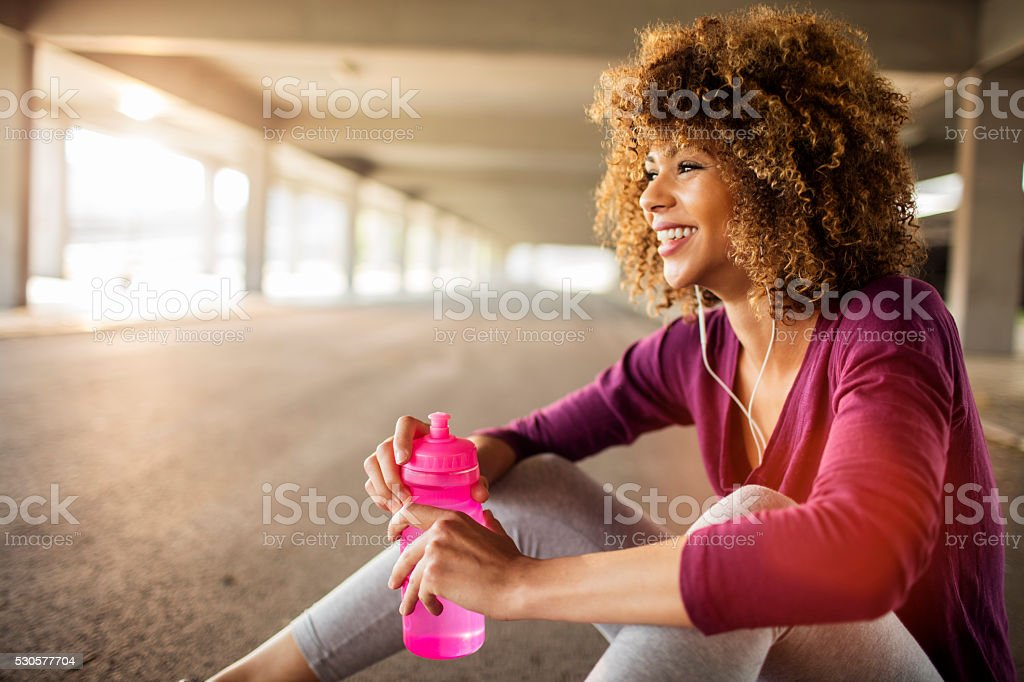 Sporty young woman stock photo