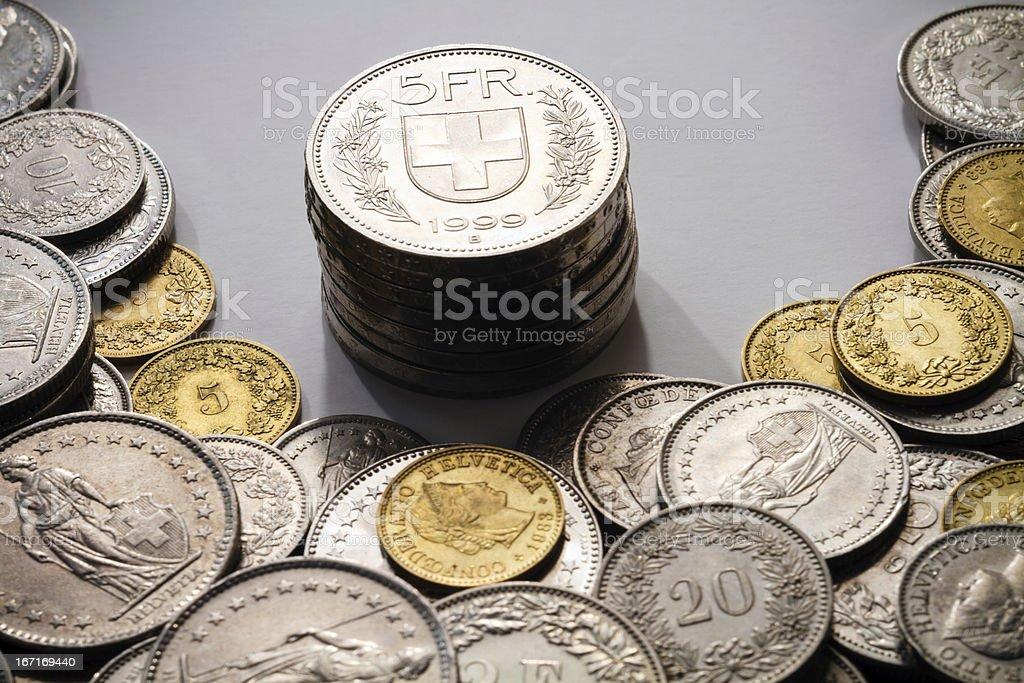 Spot light on Modern Swiss Francs stock photo