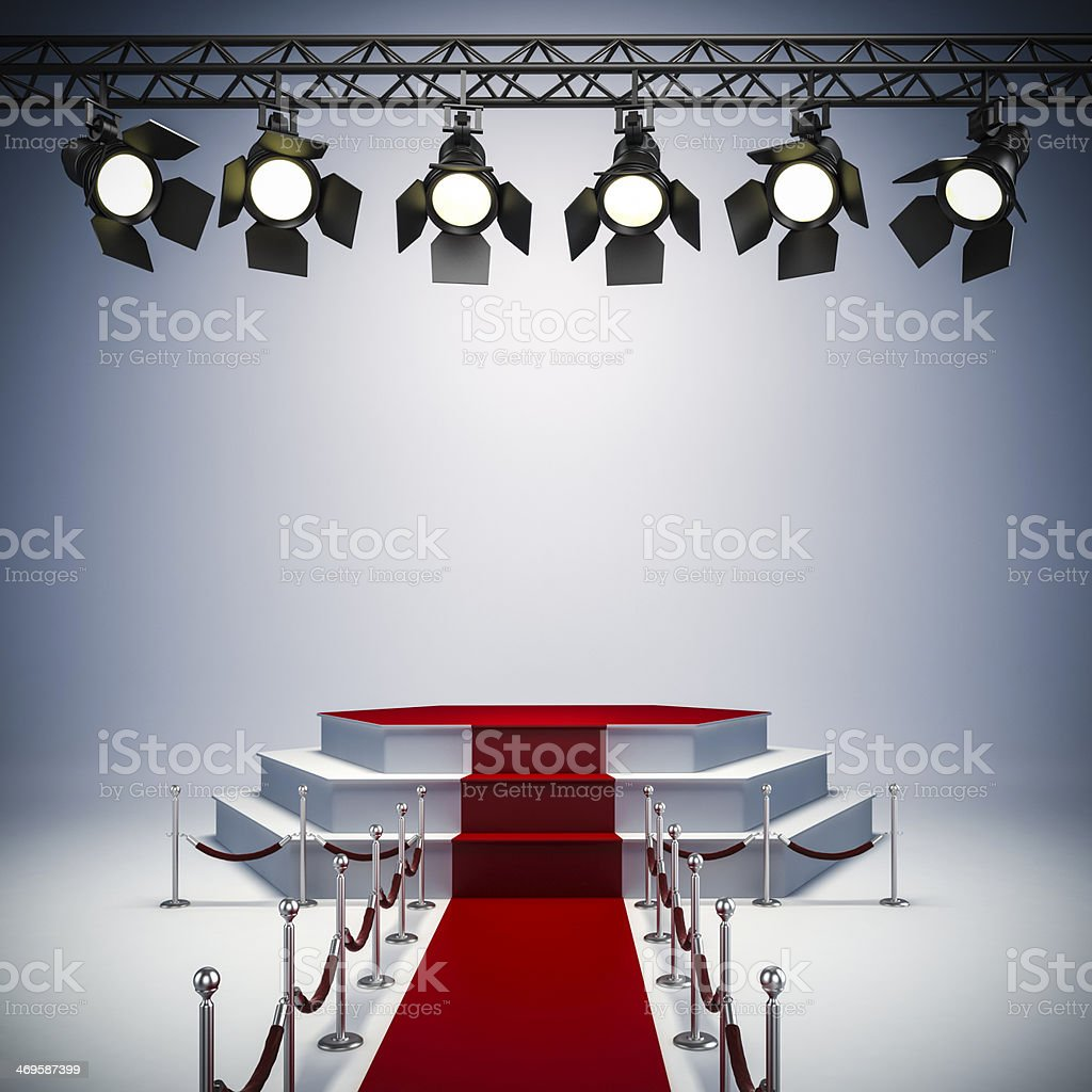3D spot lights and stage set up for a red carpet event stock photo