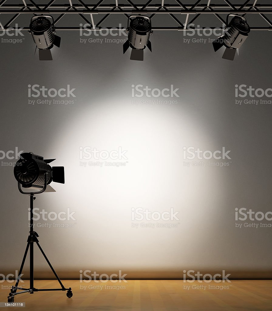Spot Lit Wall stock photo