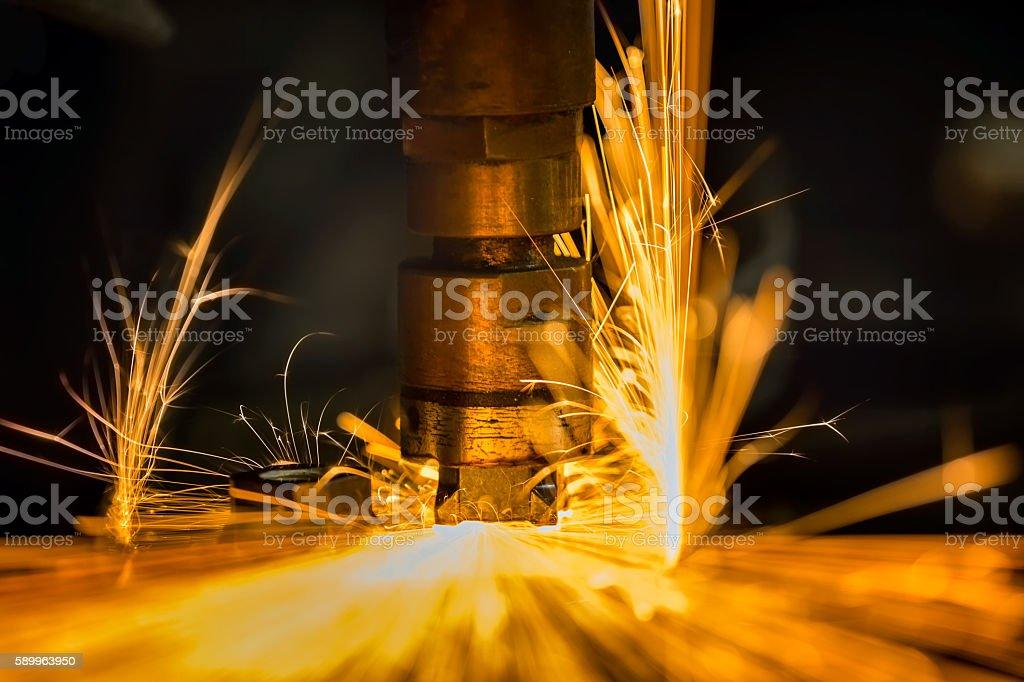 spot nut welding stock photo