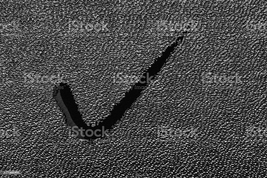 Spot on leather fabric in the form of a tick stock photo