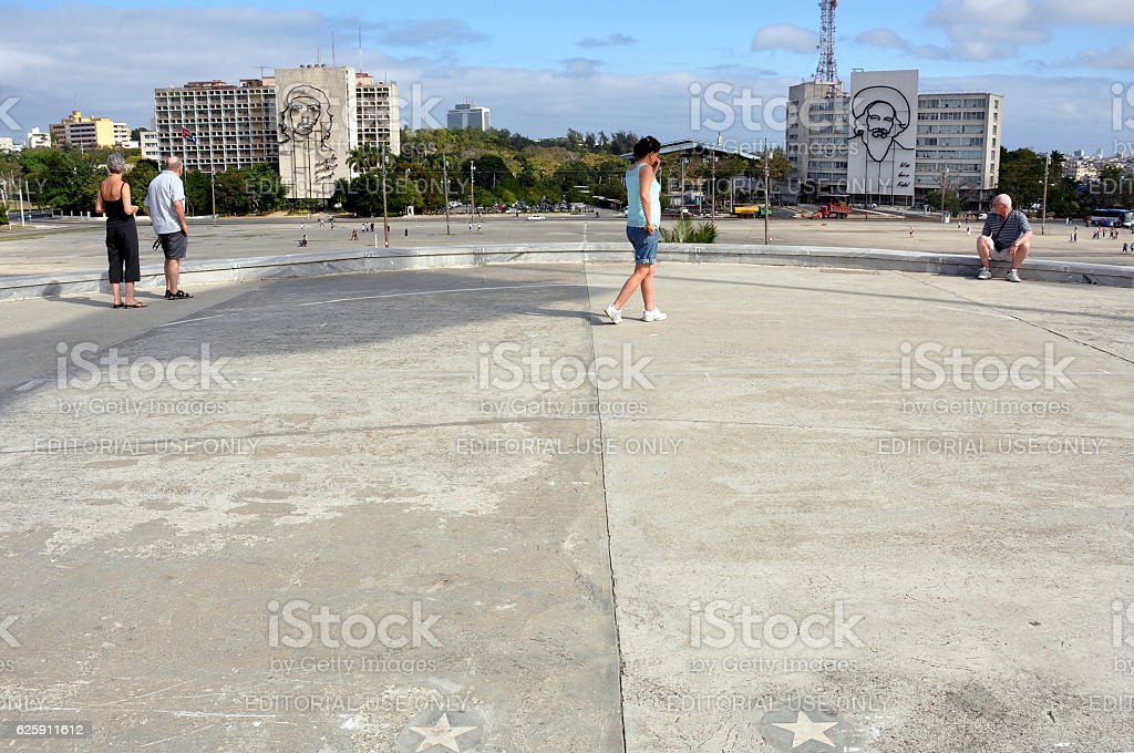 Spot wihere Fidel Castro stood to address crowds stock photo