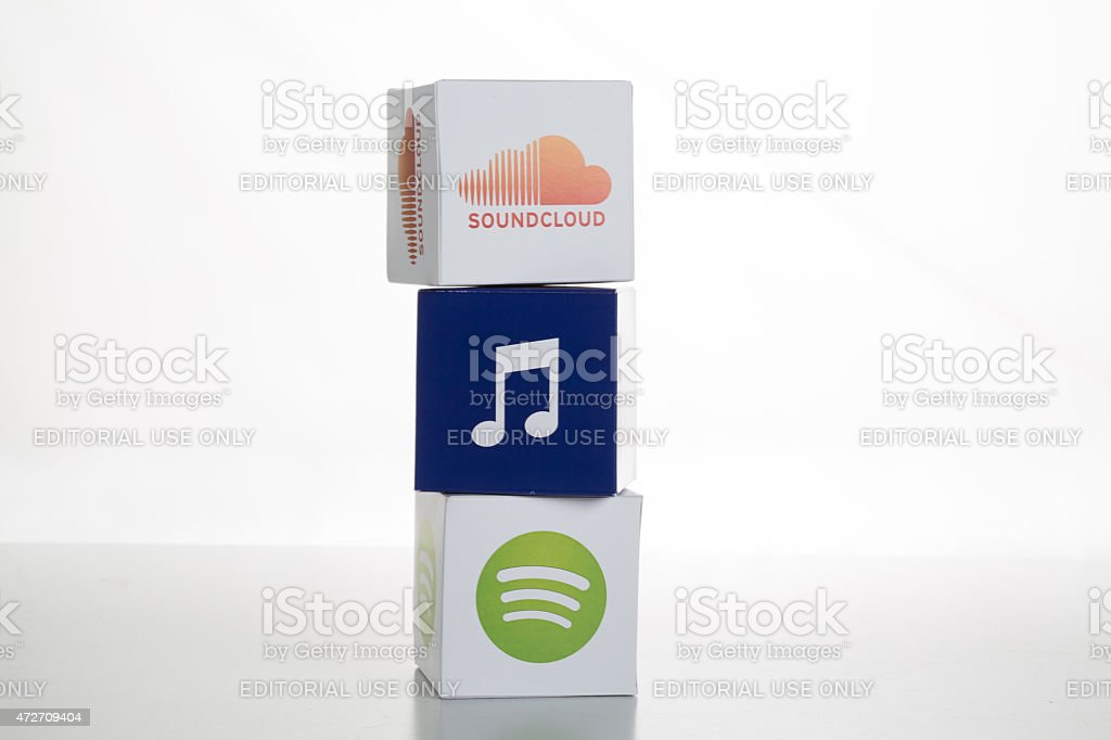 Spotify and SoundCloud Icons stock photo