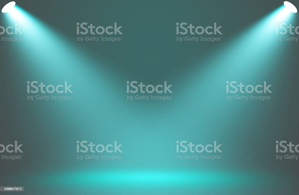 Spotlight blue effect on stage background. stock photo