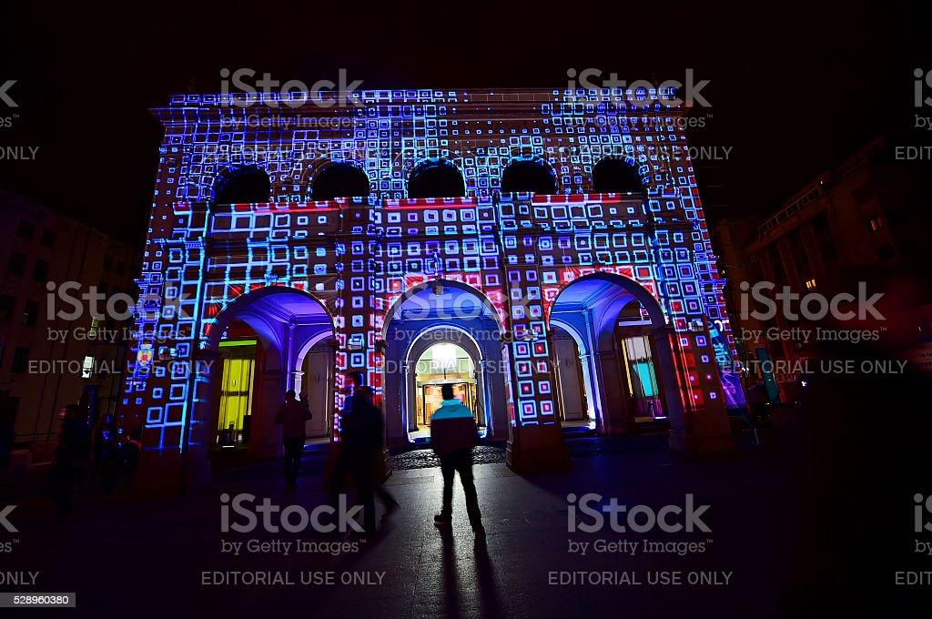 Spotlight International Light Festival stock photo