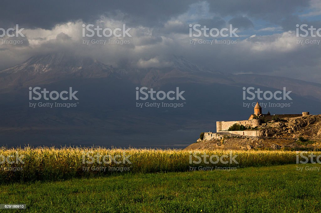 Spotlight on the Khor Virap Monastery in Armenia. stock photo