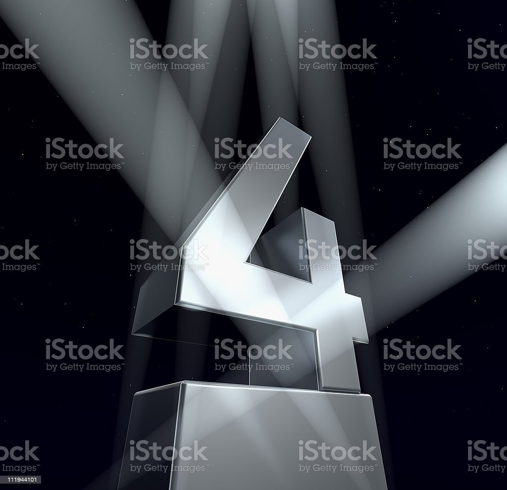 Spotlights lighting up grey number four stock photo