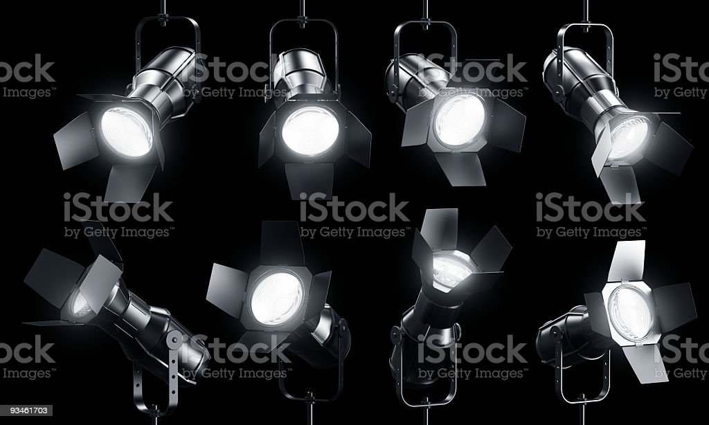 Spotlights on black royalty-free stock photo