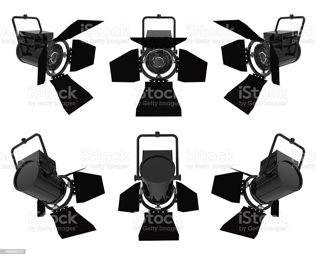 Spotlights on white background stock photo