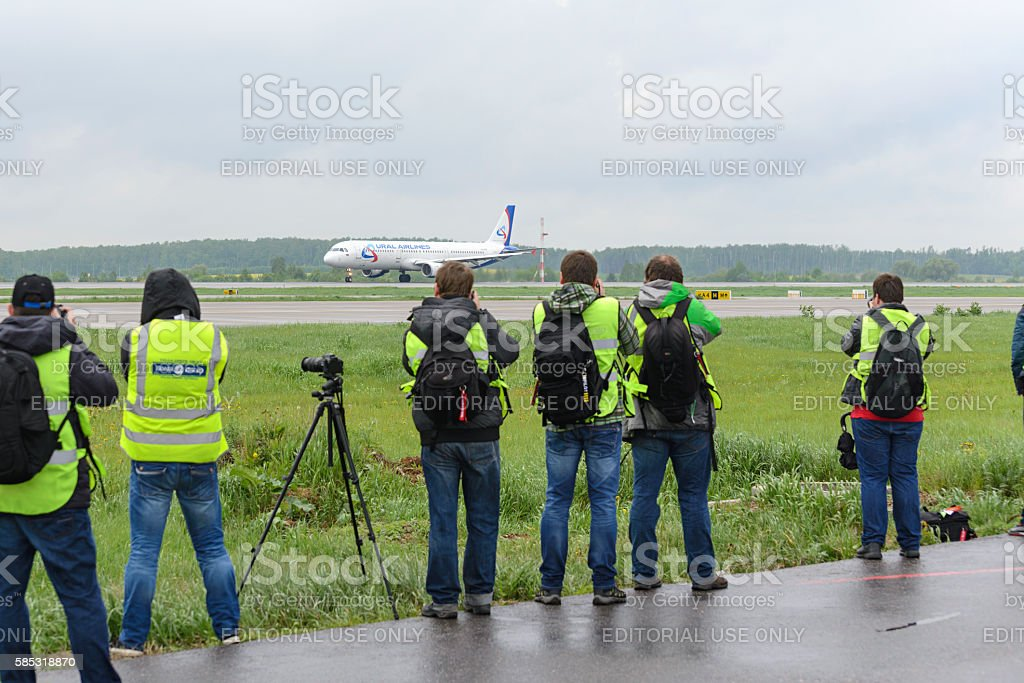Spotter aircraft photographed during takeoff. stock photo
