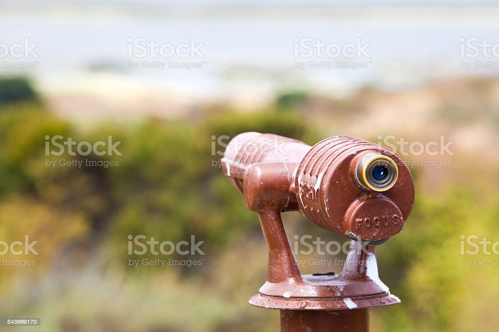 Spotting Scope Overlooking a Landscape stock photo