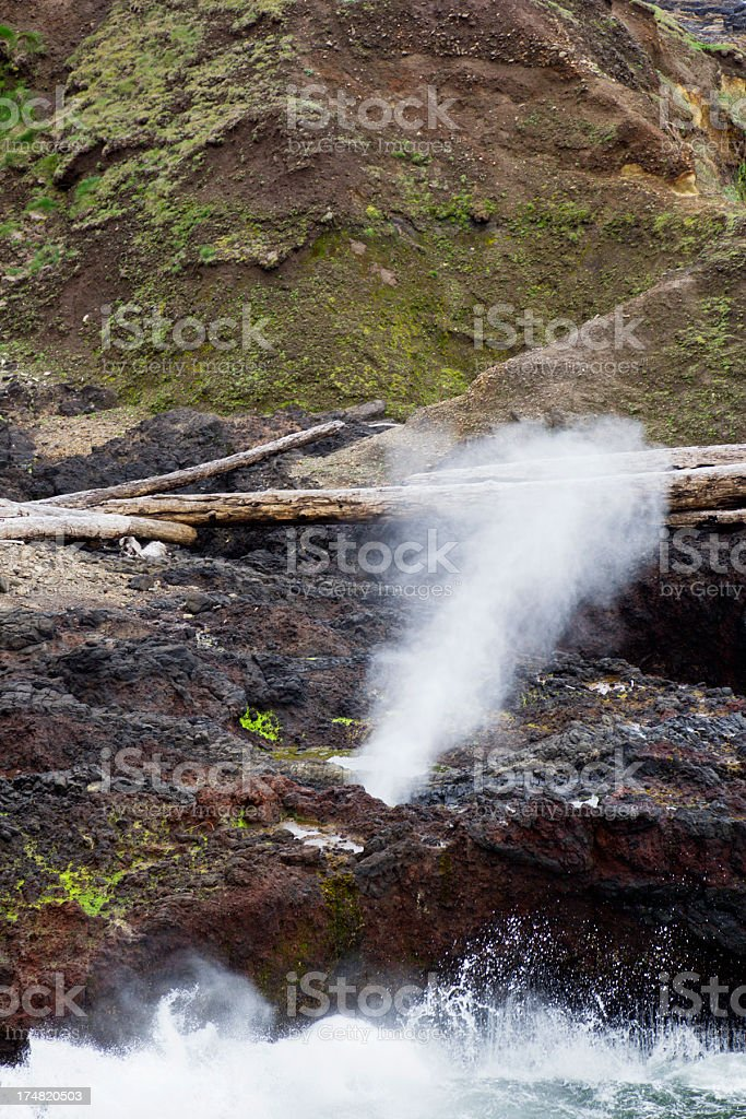 Spouting Horn Blowhole Geyser on The Oregon Coast royalty-free stock photo