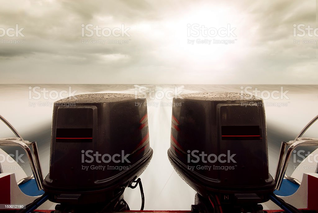 Sppedboat power engines with motion blur ocean royalty-free stock photo