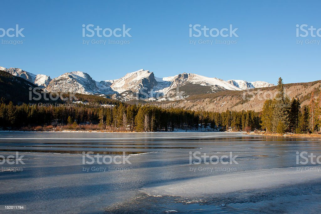 Sprague Lake in Rocky Mountains, Winter stock photo