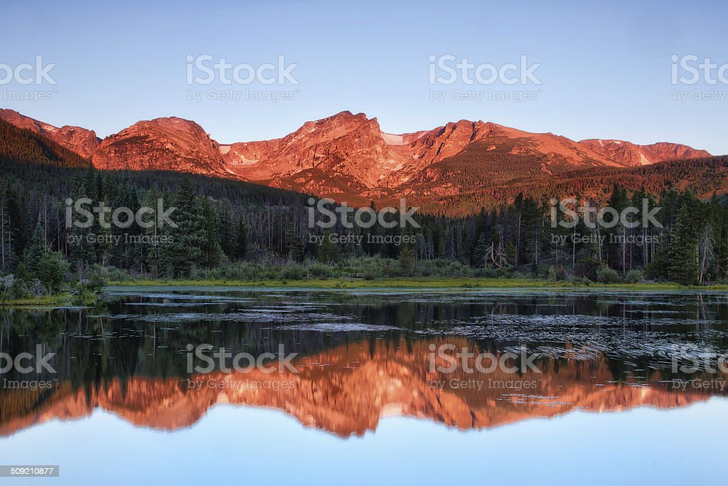 Sprague Lake Reflection at Rocky Mountain National Park stock photo
