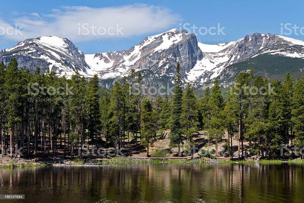 Sprauge Lake and Hallet Peak, Rocky Mountain National Park stock photo