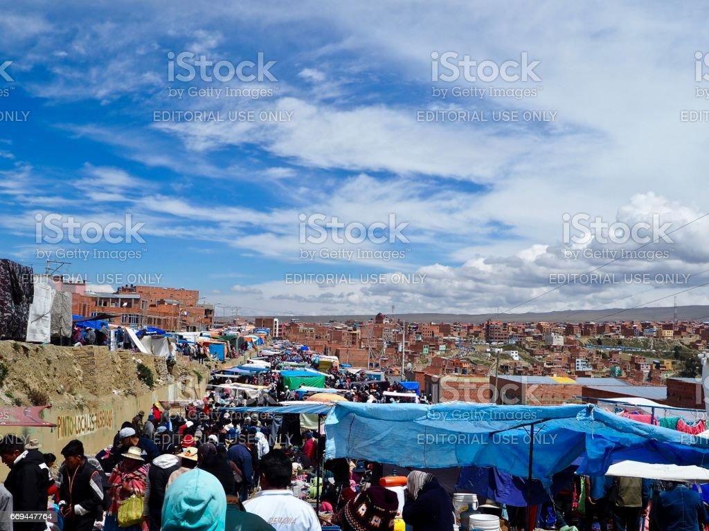 Sprawling market in El Alto, Bolivia stock photo