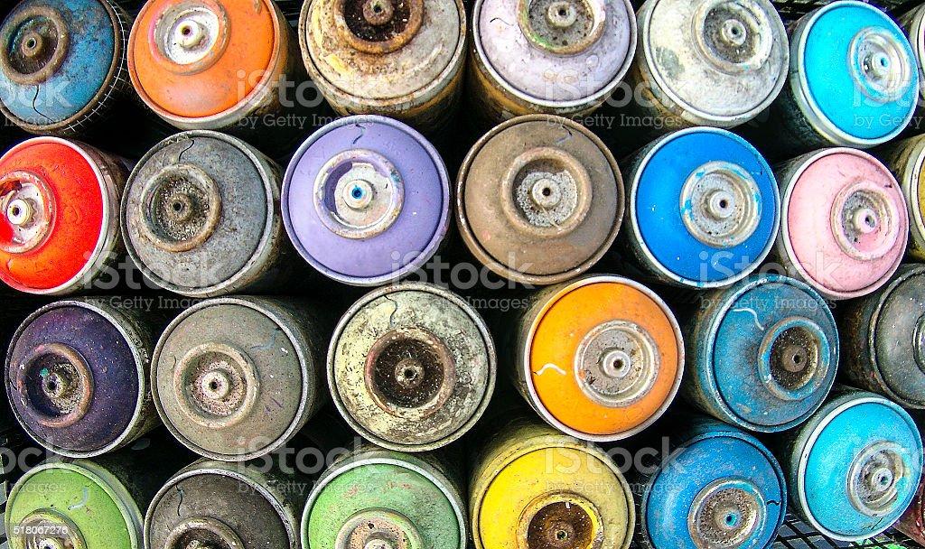 Spray cans stock photo