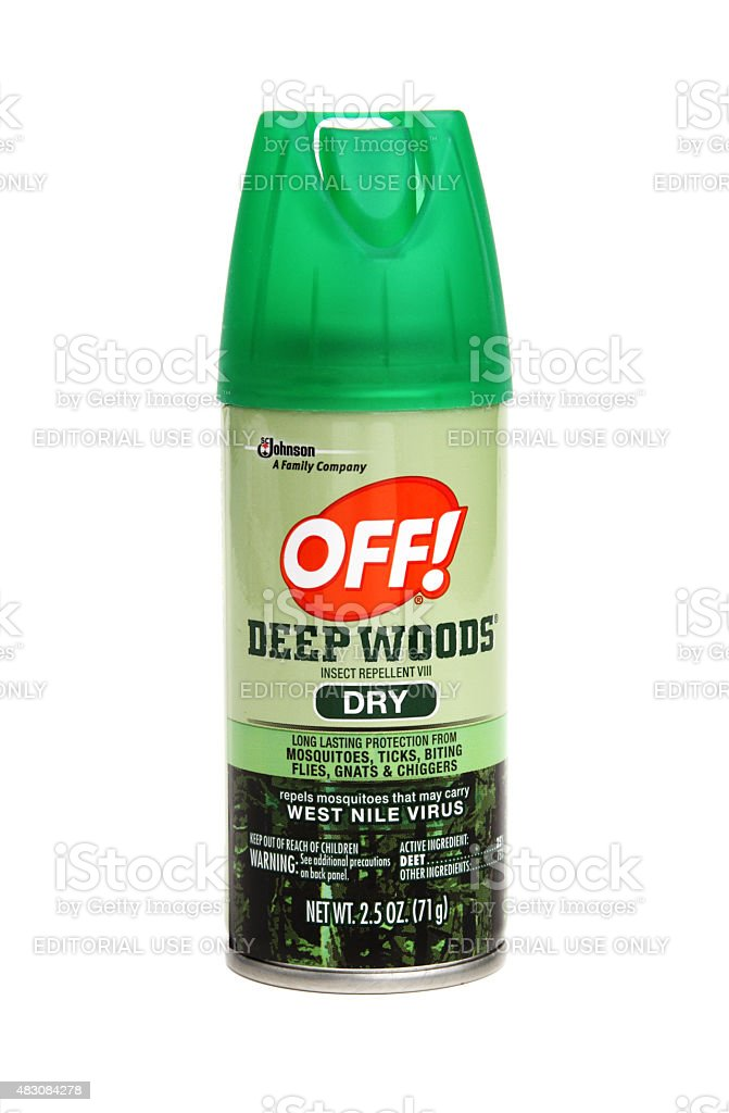 Spray container of Deep Woods OFF stock photo