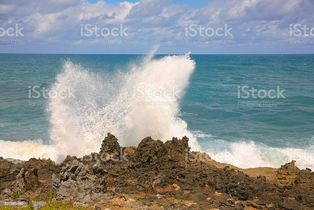 Spray Flying, Sosua, Dominican Republic stock photo