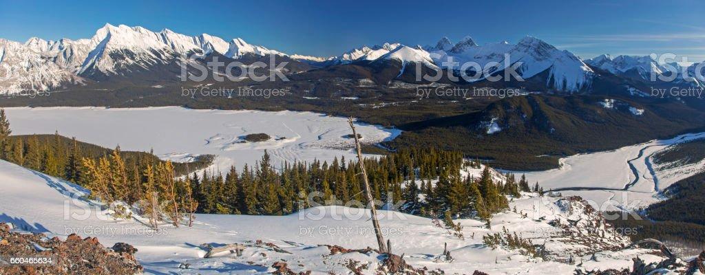 Spray Lakes Panorama Kananaskis Alberta Canada stock photo
