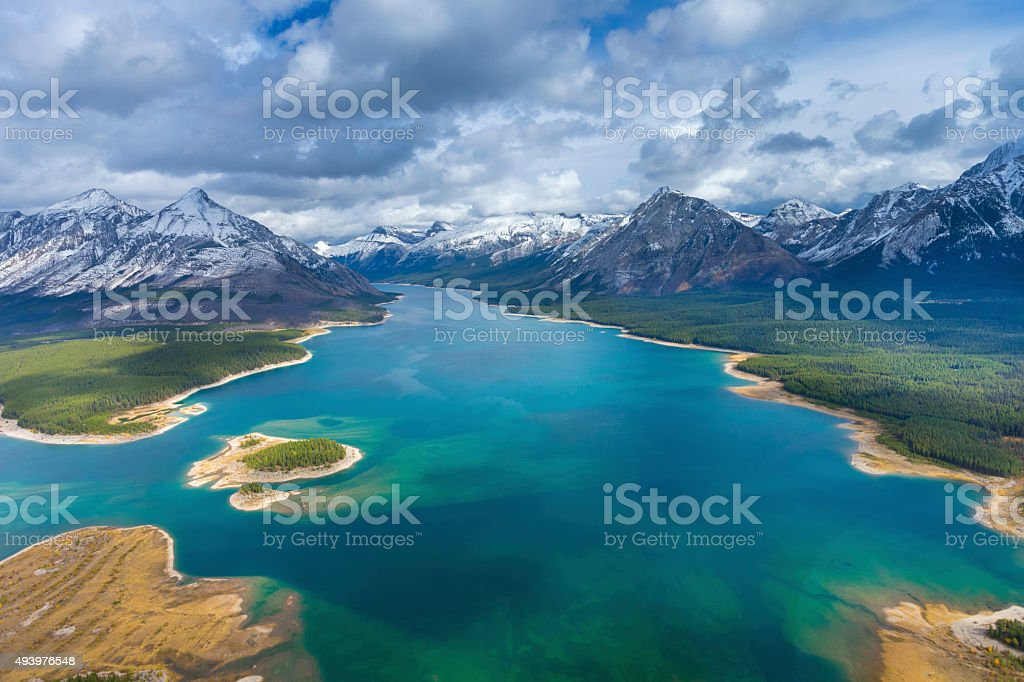 Spray Lakes Reservoir Aerial View, Mount Assiniboine Provincial Park, Canada stock photo