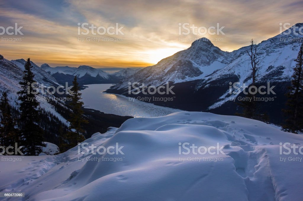 Spray Lakes Sunset Kananaskis Rocky Mountains Canada stock photo
