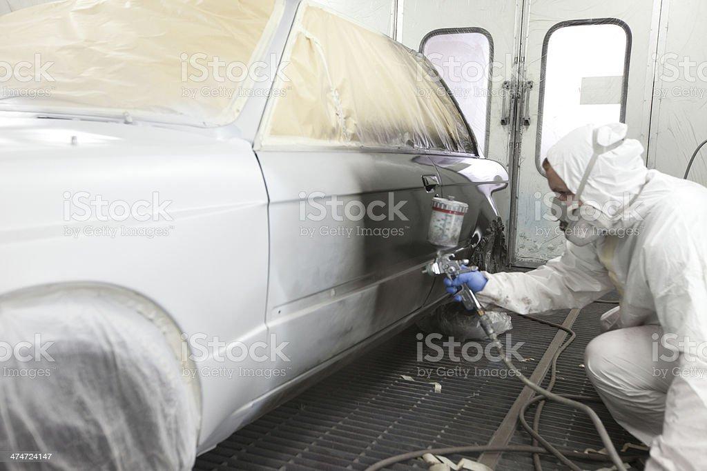 Spray on the car stock photo