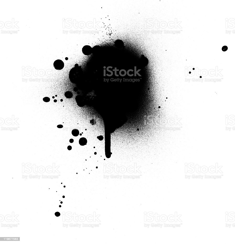 A spray paint blotch, with drip sweat of black paint stock photo