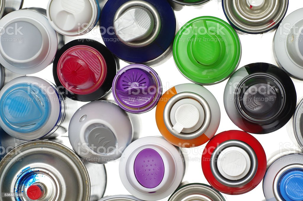 spray paint can detail objects stock photo