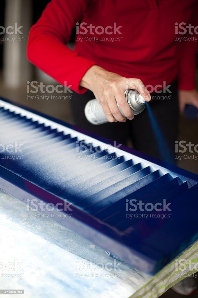 Spray paint on window shutter royalty-free stock photo