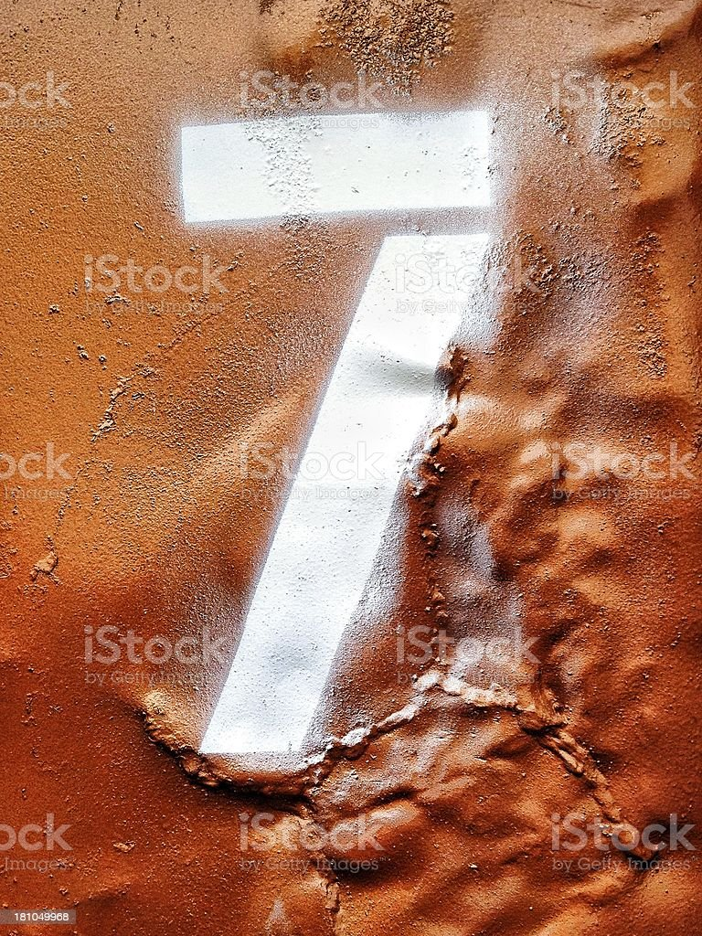 Spray painted number seven royalty-free stock photo
