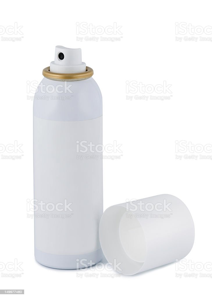 Spray with lid on white background. stock photo