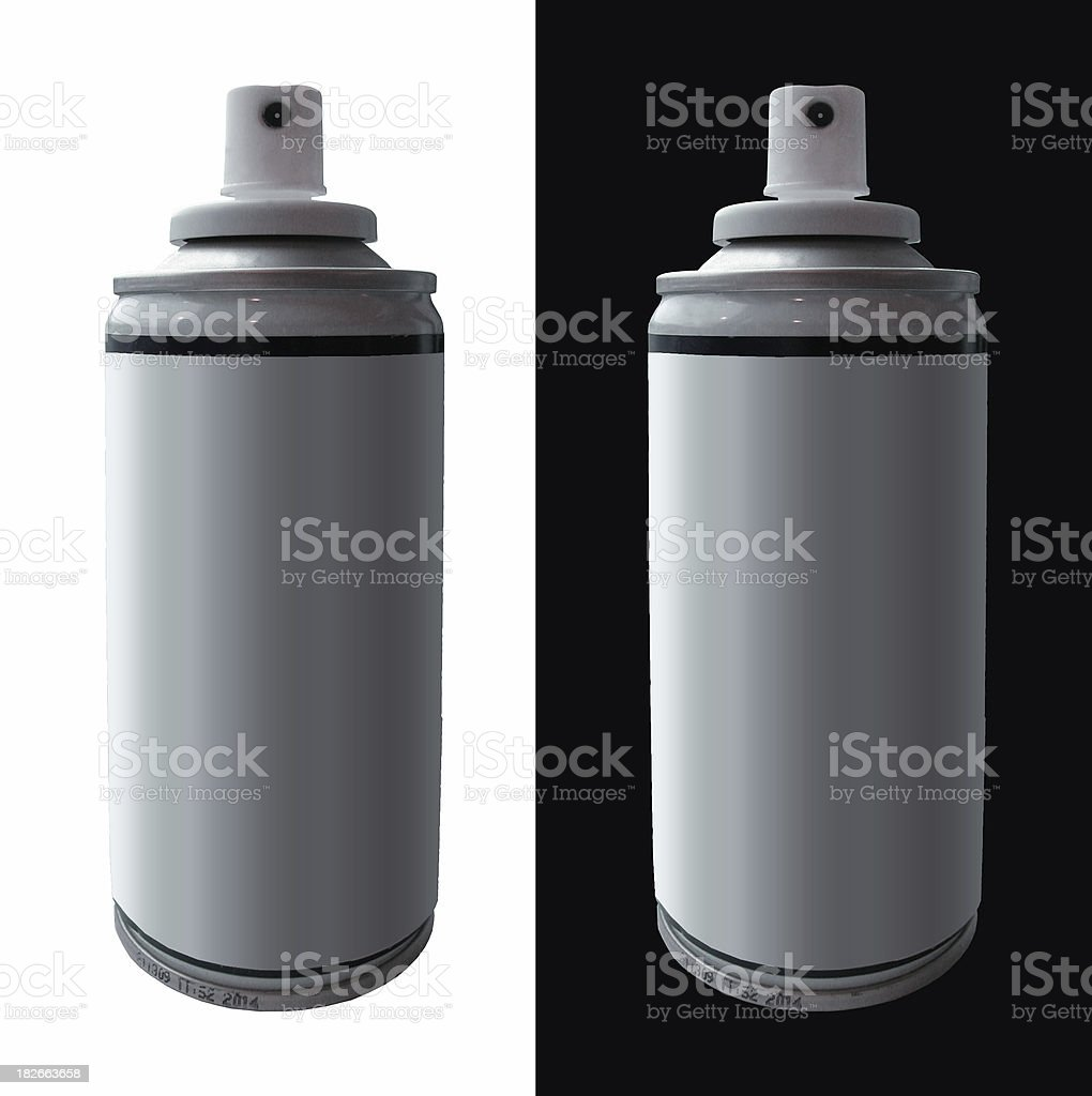 Spraycans on backgrounds stock photo