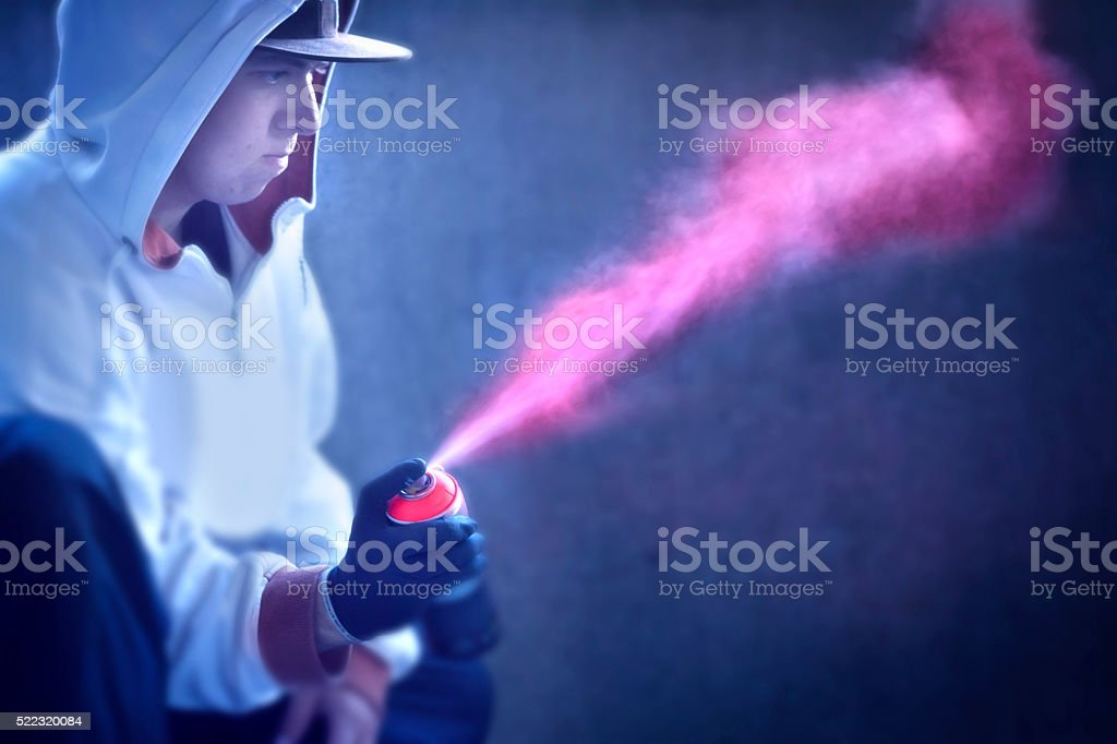 Spraying color in the air stock photo