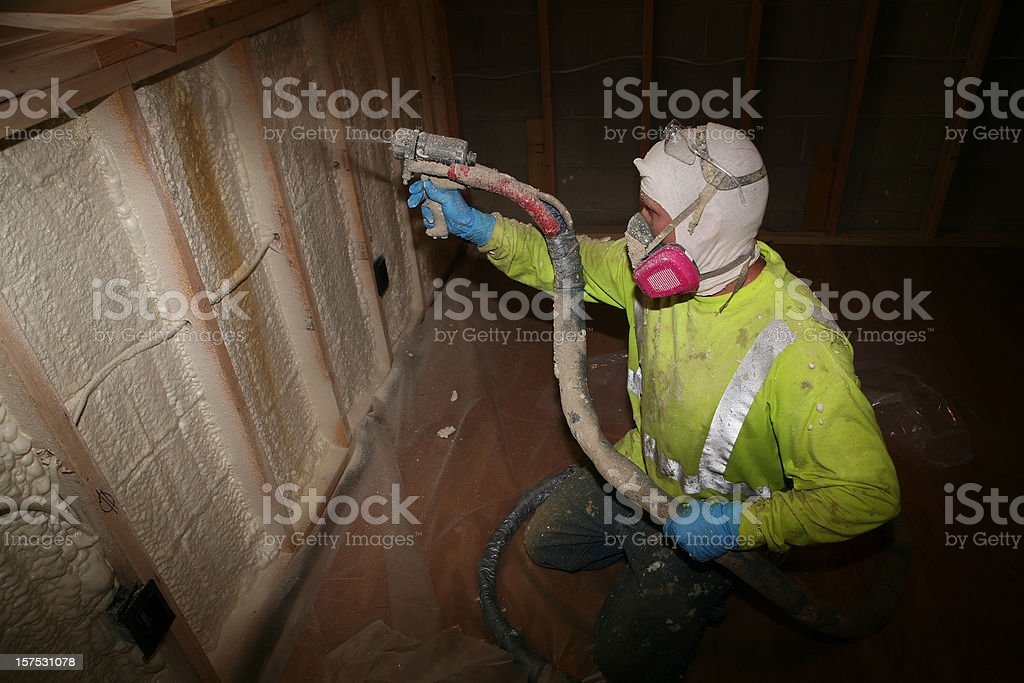 Spraying Insulation royalty-free stock photo