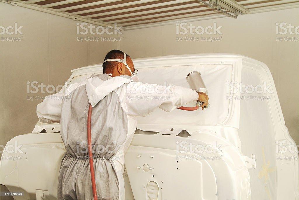 Spraying Primer on a Cab stock photo