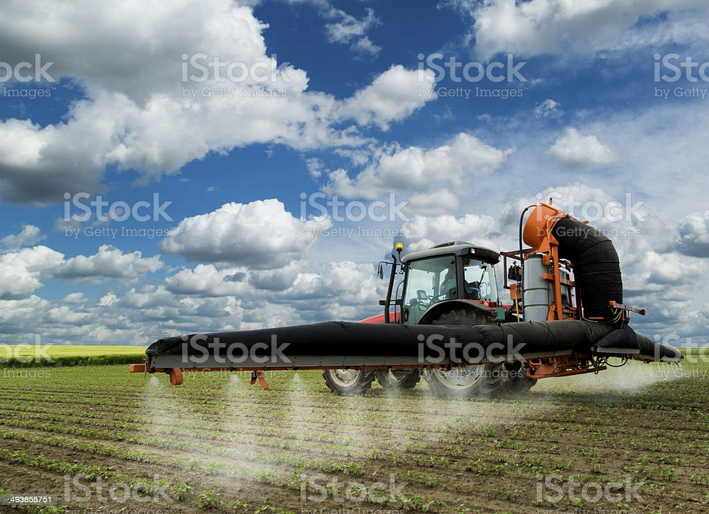 Spraying soybean field at spring over amazing cloudscape stock photo
